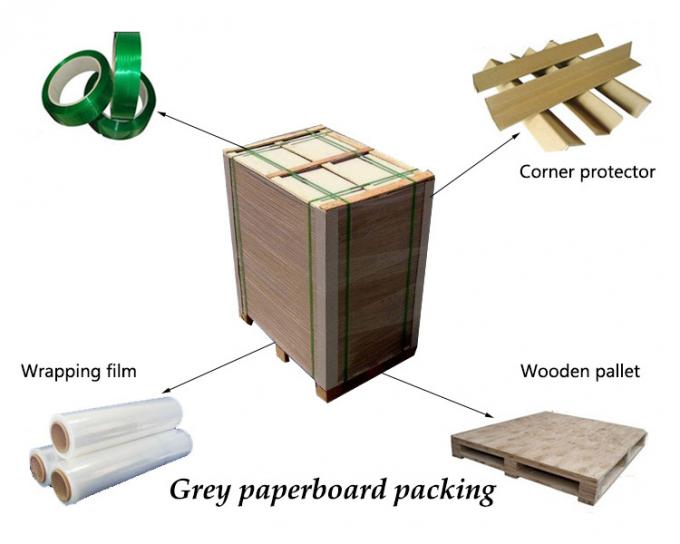 2.5mm Book Binding Cover , Mixed Pulp Strong Stiffness Grey Board Paper