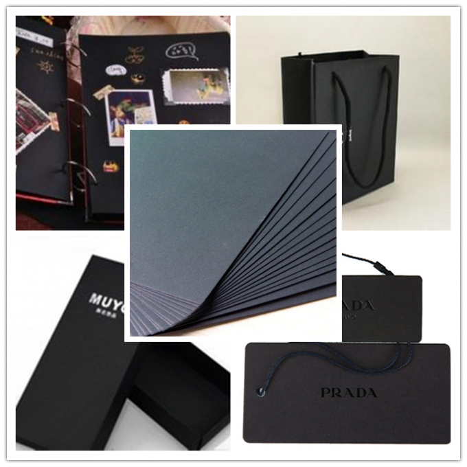 350gsm Mixep Pulp Black Paper board for shopping hand bag in recycled material