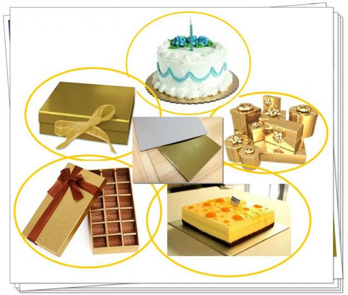 Customize gold and silver back foil laminated grey paperboard for cake boards